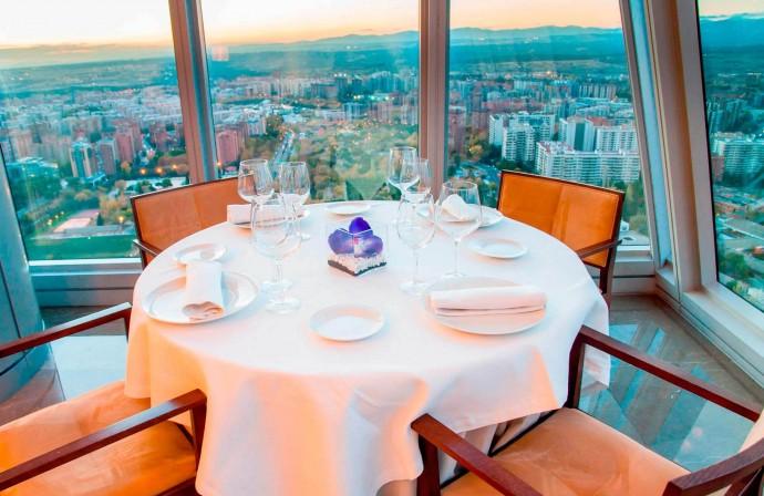 Utsikt över Madrid från restaurangen Espacio33